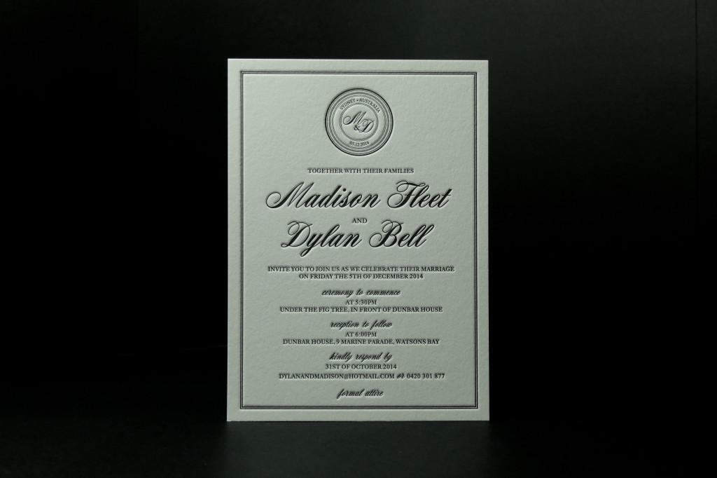 Formal Letterpress wedding invitation, Letterpress invitations, deluxe wedding stationery, luxury event stationery, Dunbar House wedding ceremony, retropress, wedding invitation inspiration