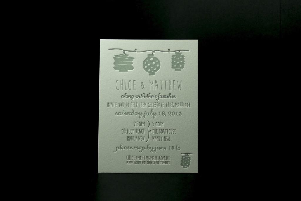 The Boathouse Manly, Wedding Reception The Boathouse Manly, Letterpress Wedding Invitation, Whimsical Letterpress Invitation, Cheap Letterpress Printing Australia, Sydney Letterpress Printer, Beach Wedding Invitation