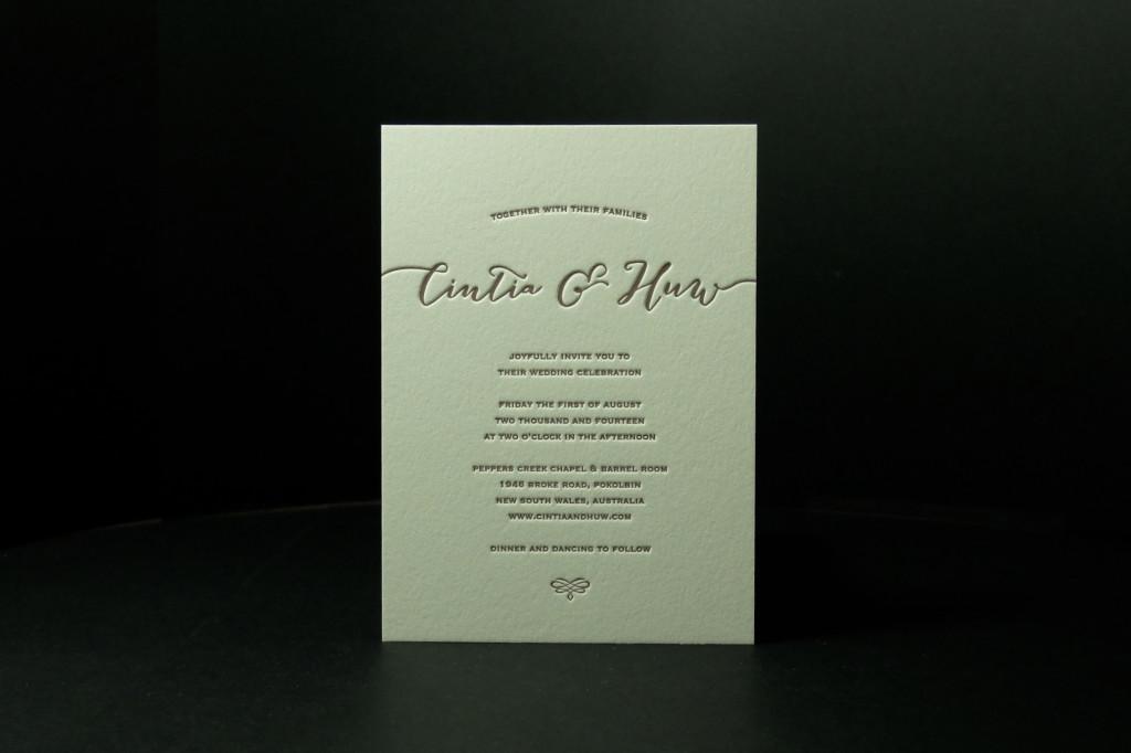 Hunter Valley Wedding, Love on the lawn, letterpress wedding invitation, cheap letterpress invitations, best wedding invitations sydney, Andrew Basford, Retropress
