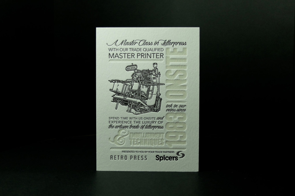 Spicers Paper, Letterpress printing, trade printing, Corporate Events, specialty printing, cheap letterpress, retropress, Andrew Basford, master printer, letterpress Australia